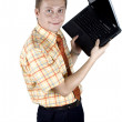 Businessman with laptop computer — Stock Photo