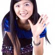 Asian girl saying hello — Stock Photo