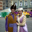 Couple in traditional nobility outfit — Stock Photo