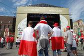 Euro2012 - polské fanoušky s příznaky — Stock fotografie