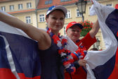 Euro2012 - ロシア語の女性ファン — ストック写真