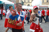 Euro2012 - Russian couple with flag — Stock Photo