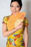Chinese lady with fan — Stock Photo