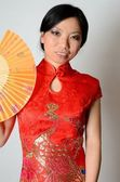 Chinese lady with fan — ストック写真