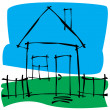Vector scetch house — Stock Vector