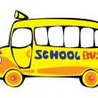 Vector cartoon yellow school bus isolated on white background — Stock Vector