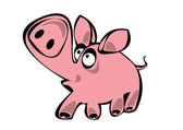 Cartoon pink vector pig isolated on white background — Stock Vector