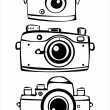 Set of three vintage film photo cameras isolated on white background — Stock Vector