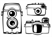 Vector set of three vintage film photo cameras isolated on white background — Stock Vector