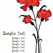 Red vector carnations isolated on white background with copyspace — Stock Vector #21681359