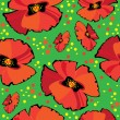 Seamless pattern of red vector poppies on green background — Imagen vectorial