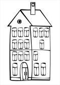 Casa vintage vector aislado sobre fondo blanco — Vector de stock