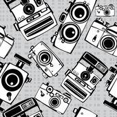 Vintage film photo cameras vector seamless pattern — Stock Vector