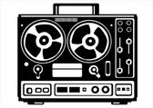 Vector reel tape recorder on white background — Stock Vector