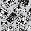 Royalty-Free Stock Vector Image: vector seamless reel tape recorder pattern