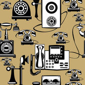 Vector vintage phones seamless pattern — Stok Vektör
