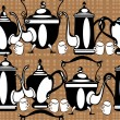 Seamless pattern teapot on brown background — стоковый вектор #26255615