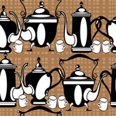 Seamless pattern teapot on brown background — Stock Vector