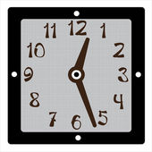 Square clock vector on white background — Stock Vector