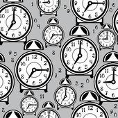 Seamless pattern alarm clock — Stock Vector