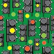 Seamless pattern traffic light on green background — Stock Vector