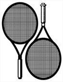 白い背景で隔離のテニス ラケット — ストックベクタ