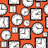 Seamless pattern clock — Stock Vector