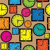 Seamless pattern multicolor clock — Stock Vector