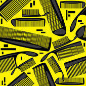 Seamless pattern combs on yellow background — Stock Vector