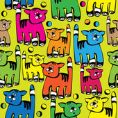 Seamless pattern multicolored cat — Stockvektor