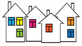 Houses with colored windows — Vector de stock