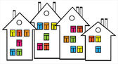 Houses with colored windows — Stock Vector
