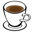 Cup of coffee on white background — Stock Vector