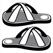 Beach sandals on white background — Stock Vector
