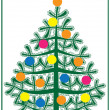 Fir christmas card with balls — Vettoriale Stock #30220135