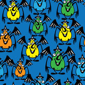 Seamless pattern halloween bat colored — ストックベクタ
