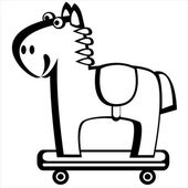 Horse on wheels isolated on white background — Stock Vector