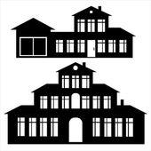 Jeu d'icônes de la maison classique isolé sur fond blanc — Vecteur