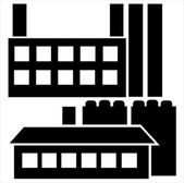 Industrial house icon set isolated on white background — Stockvector