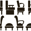 Furniture icons isolated on white background — Stock Vector