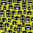 Houses icon of seamless pattern — Stock Vector