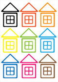 Multicolored houses icon of seamless pattern — Cтоковый вектор