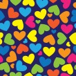 Multicolor hearts of seamless pattern — Stock Vector