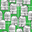 Vintage houses of seamless pattern — Stock Vector