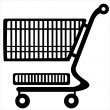 Shopping trolley isolated on white background — Stock Vector