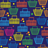 Basket of goods seamless pattern — Stock Vector