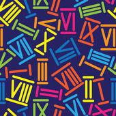 Multicolored roman numerals seamless pattern — Stock Vector