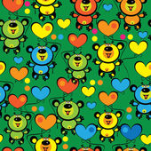 Multicolored teddy bears seamless pattern — Stock Vector