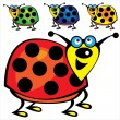 Stock Vector: Cute ladybugs set