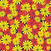Röda och gula blommor seamless mönster — Stockvektor